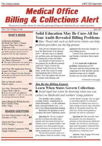 Medical Office Billing & Collections Alert Magazine Cover