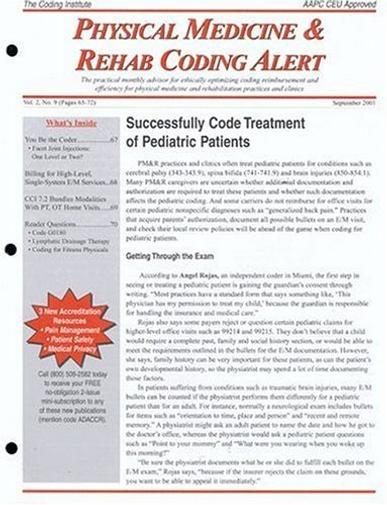 Physical Medicine & Rehab Coding Alert Magazine Cover