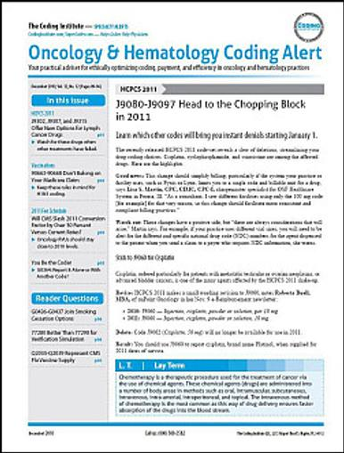 Oncology & Hematology Coding Alert Magazine Cover