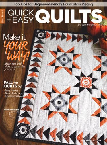Quick Quilts Magazine October 1st, 2020 Issue Cover