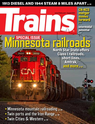 Trains Magazine August 1st, 2021 Issue Cover