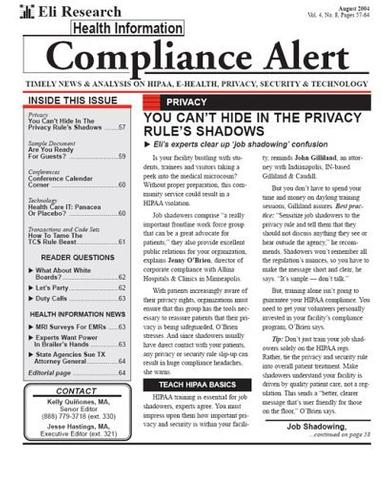 Health Information Compliance Alert Magazine Cover