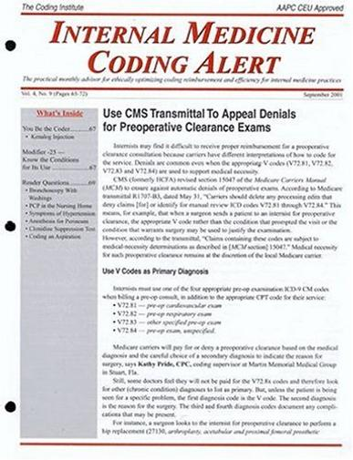 Internal Medicine Coding Alert Magazine Cover