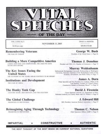 Vital Speeches of the Day Magazine Cover