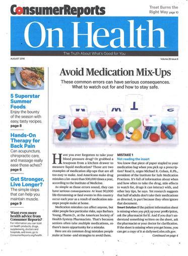 Consumer Reports On Health Magazine Cover
