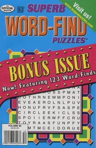 Superb Word Find Bonus Magazine Cover