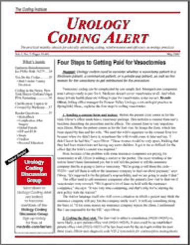 Urology Coding Alert Magazine Cover