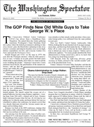 Washington Spectator Magazine Cover